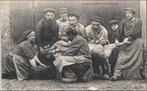 tueur de cochon autrefois, en Auvergne